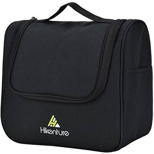 Reise Kulturtasche zum Aufhängen von Hikenture® - Kulturbeutel für Damen und Herren - Waschbeutel Kosmetiktasche mit vielen Fächern – Waschtasche für Reisen, Outdoor, Camping (Schwarz)