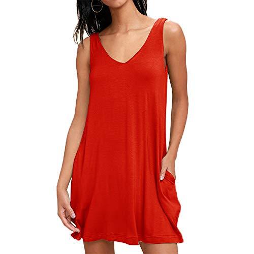 Damen lässiges Kleid ärmellos Kleid Bluse Elegant Lose Einfaches Beiläufiges Kleid Viskose Jersey Stretch Skaterkleid, Baumwollspitze T-Shirt Kleid mit Taschen, Rot, M Damen Stretch Flare Jeans