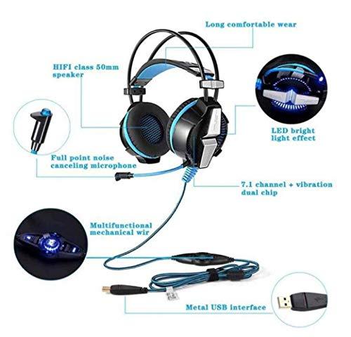 LZY Fashion Gaming Headset Usb 7.1 Surround Sound über das Ohr Gaming Kopfhörer Ohrhörer Stereo Noise Isolation,Blau,EIN