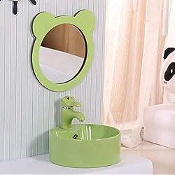 SCFUK Lavabo pour Enfants,Conteneur de Montage pour lavabo en céramique, lavabo Rond élégant pour Enfants Mignons, lavabo d'art de Cuisine Cuisine Salle de Bain,Green