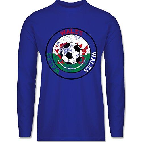 EM 2016 - Frankreich - Wales Kreis & Fußball Vintage - Longsleeve / langärmeliges T-Shirt für Herren Royalblau