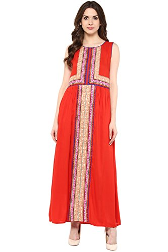 Akkriti by Pantaloons Women's A-Line Dress ( 205000005637650, Red, Small)