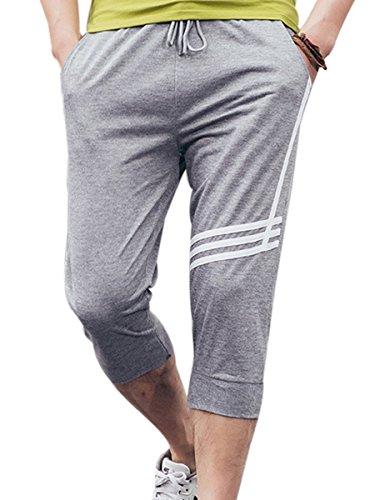 Panegy- Homme/Garçon Sports Pantalons Sarouel Shorts de Gymnase Pour Sport D'été -Gris-XL