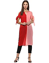 b4ca5a7d28f Roving Mode Women's Color Block Straight Cut Tie Up Sleeve Tunic, Red