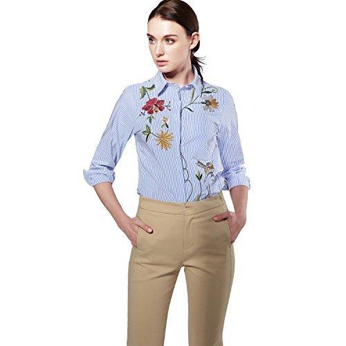 Frauen Langarm Stickerei Turn-down Casual Blue Striped Button Blumendruck Bluse Tops Shirts (Baumwolle-button-down-shirt Gestreifte)