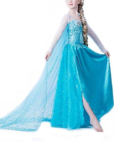 Eiskönigin / Schneeprinzessin Kostüm mit Spiral Stickerei und Schleppe - Blau - Gr. 140 - Kostüm Mit Blauen Kleid