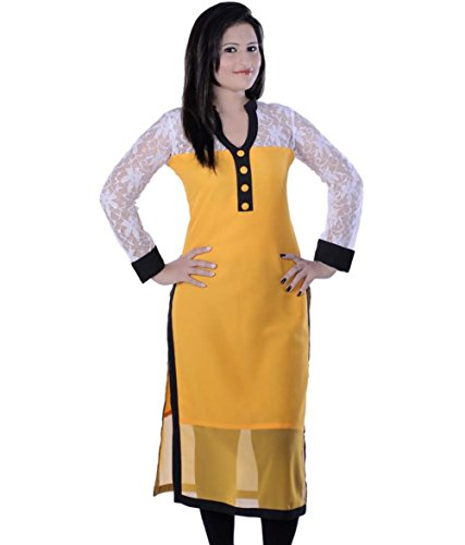 Fusion Multicolor Cap Half Long Short Sleeve sleeveless Kurtis Kaftan for Girls (GT-KVG-Y-XXL)