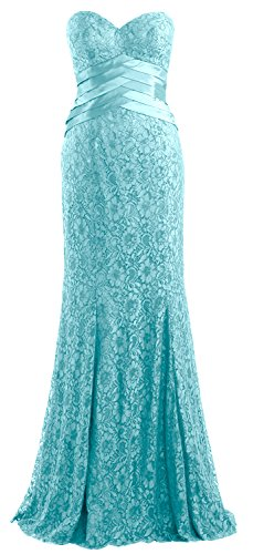 MACloth Women Mermaid Strapless Lace Evening Gown Wedding Party Formal Dress Turquoise
