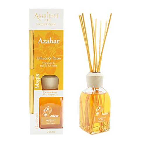 Ambientair Mikado Air Freshener for Home, Orange Aroma, Crystal, Yellow, 8 x 8 x 30 cm