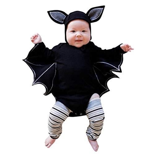 Wawer Neugeborenes Baby Jungen Mädchen Halloween Strampler Spielanzug Cosplay Kostüm Langarm Strampler + Hut Outfits Set (6M70, Schwarz)