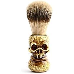 Walmeck Brosse à Raser Hommes Squelette de Tête de Crâne en Résine Poignée en Résine Naturelle Outils de Coiffeur de Brosse de Maquillage Pour les Hommes