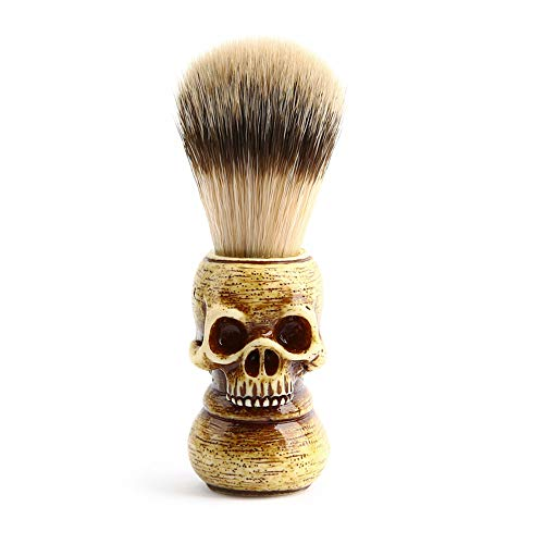 Anself Men Shaving Brush Resin Skull Head Skeleton Natural Resin Handle Makeup Brush Barber Tools For Men
