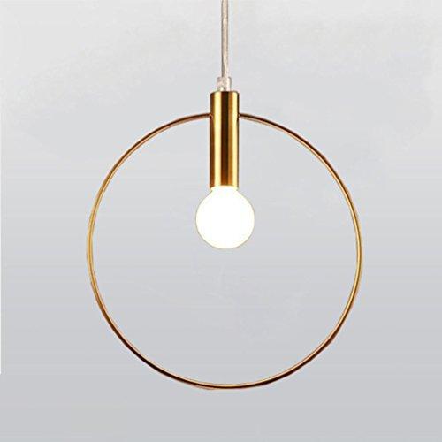 Preisvergleich Produktbild YAOSHUNYU LED Moderne Einfachheit Golden Pendelleuchte Einzel-Kopf Design Pendellampe Persönlichkeit Kreativität Raumbeleuchtung für Lobby Esszimmer Ring Höhenverstellbar Hängeleuchte E14×1 Ø28CM Büro