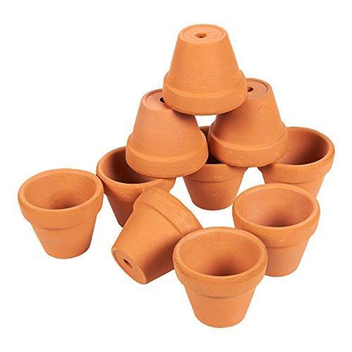 Set di 10piccoli vasi di terracotta, per fiori di piccole dimensioni, piantine da interni e da esterni e per piante grasse, marrone,2,5x 3,8cm.