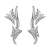 MJARTORIA Womens Stud Earrings Silver Color Double Butterfly Rhinestone Statement Earrings