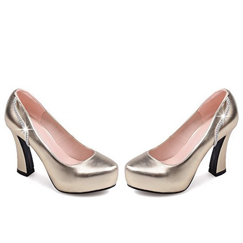 AllhqFashion Damen Hoher Absatz Blend-Materialien Rein Ziehen Auf Rund Zehe Pumps Schuhe Golden