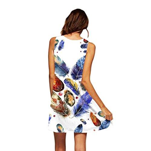 MRULIC Damen Lovely Mini Floral Printing A-Linie Kleider Beach Dress Vintage Boho Frauen Sommer Ärmelloses Party Kleide(P-Blau,EU-38/CN-S) (Kommunion Erste Kleid Die Weißes Für)
