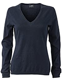 JAMES & NICHOLSON Ladie's high-quality pullover with silk/cashmere content (XXL, navy-melange)