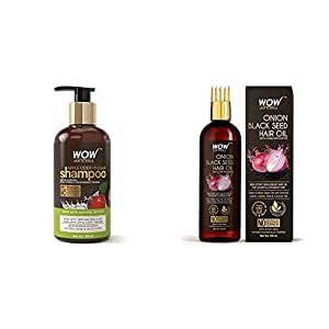 WOW Apple Cider Vinegar No Parabens & Sulphate Shampoo, 300mL & Skin Science Onion Black Seed Hair Oil - WITH COMB APPLICATOR - Controls Hair Fall NO Mineral Oil, Silicones, Cooking Oil