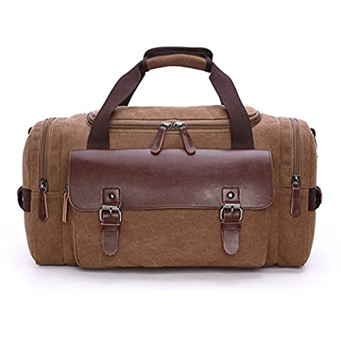 Mupack Travel Canvas Carry on Overnight Holdall Handbag Vintage Leather Weekender Bag with Two Side Zipped Pockets for Men Ladies (Coffee)