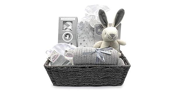 gestrickter Baumwollhase 100 /% Baumwolle Little Grey London Baby-Geschenkkorb aus 100 /% Bio-Baumwoll-Musselin