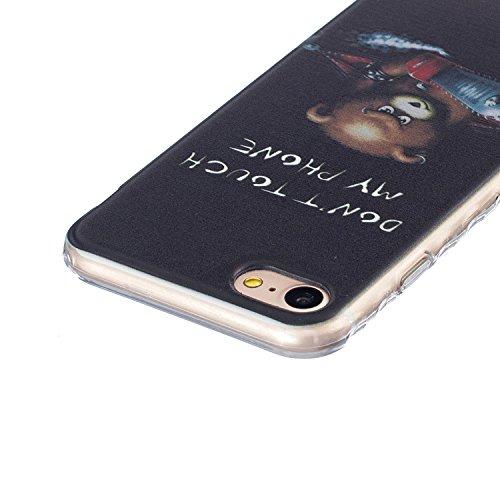 Custodia TPU per iPhone 7 Cover,ZCRO Flessibile Morbido TPU Sottile Slim Antiscivolo Caso Protettiva Bumper Gomma Case Cover per iPhone 7 4.7 Pollici con Pellicola Protettiva (Plum Blossom Flower) Orso