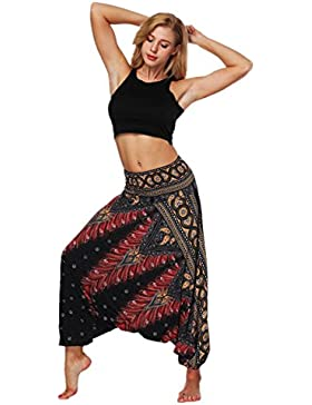 DAYLIN Mujer Verano Casual Suelto Pantalones de Yoga Boho Aladdin Mono Pantalones de Harén
