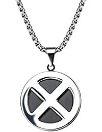 Marvel Comics Unisex Adult X-Men Logo Stainless Steel Pendant Necklace with 24 inch Chain, Silver, One Size
