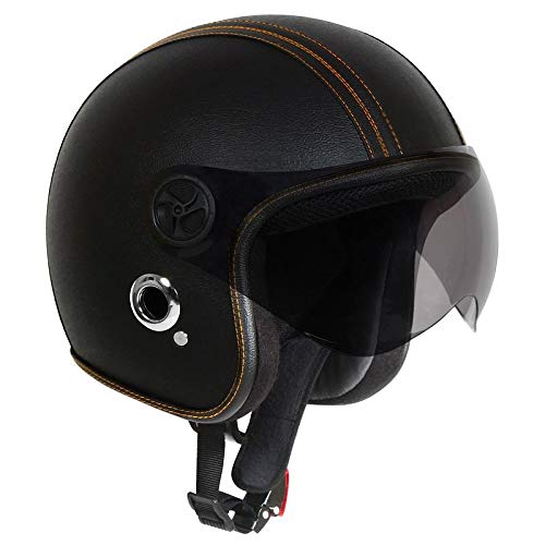 O2 Open Face Black Leather Star with Tinted Poly Carbonate Visor