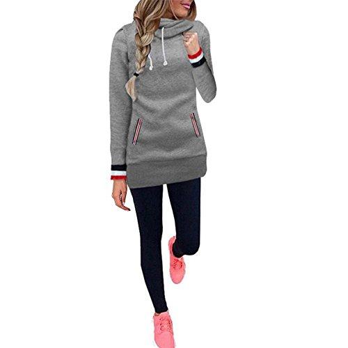 Aitos Kapuzenpullover Damen Hoodie Sweatshirt Top Mustern Gedruckt Hipster Mode Lässige Herbst Winter ( Grau Stl / XL (Kapuzen Schwarze Kleid)