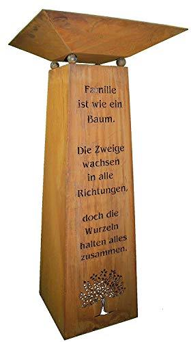 Rostikal   Edelrost Säule mit Familien Spruch und Dekoschale   Wohndeko für Haus und Garten   Gesamthöhe 115 cm (Schale 50 x 50 cm)
