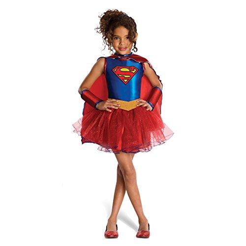 Supergirl Tutu Kostüm Kinder Super Helden Kostüm Mädchen 4-tlg Kleid Gürtel Umhang Armstulpen - (Kostüme Mädchen Superheld Tutu)