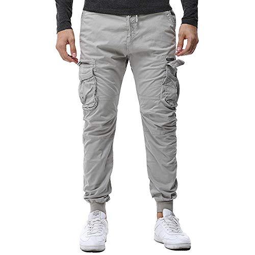 CAOQAO Pantaloncini da Uomo Jeans/Moda da Uomo Pieghettato Tie Corda Elastica Tasca con Cerniera Pantaloni da Lavoro Casual Pantaloni Orlo/Grigio/M-3XL