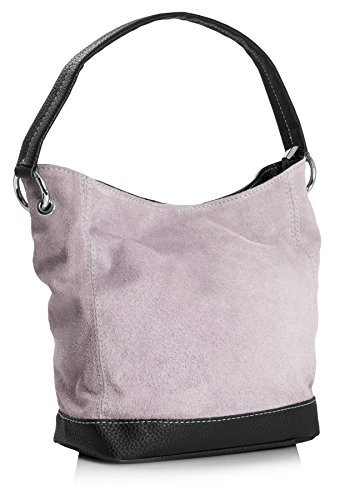 Big Handbag Shop - borsa con manico in vera pelle scamosciata italiana, con finiture in similpelle Baby Pink (GU690)
