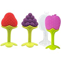 KIDZVILLA Newborn Baby Fruit Shape Silicone Teether for Infants (Saver Pack of 3) (Multi_04)