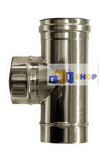CHEMINEE PAROI SIMPLE TUYAU TUBE INOXIDABLE AISI 316 - dn 120 raccordo a tee 90° canna fumaria tubo acciaio inox 316 parete semplice
