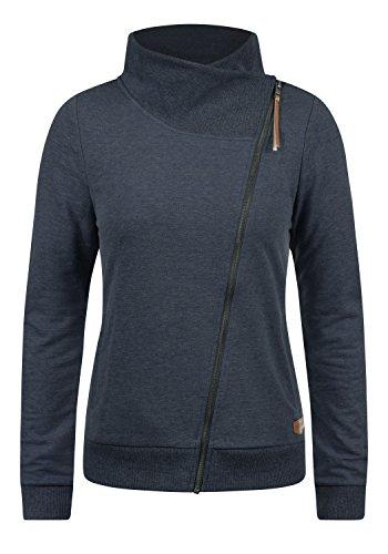 DESIRES Candy Damen Sweatjacke Jacke Sweatshirtjacke Mit Stehkragen, Größe:L, Farbe:Insignia Blue Melange (8991)