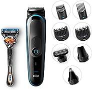 Braun All-in-one trimmer MGK5080, 9-in-1 trimmer, 7 attachments and Gillette Fusion5 ProGlide razor.