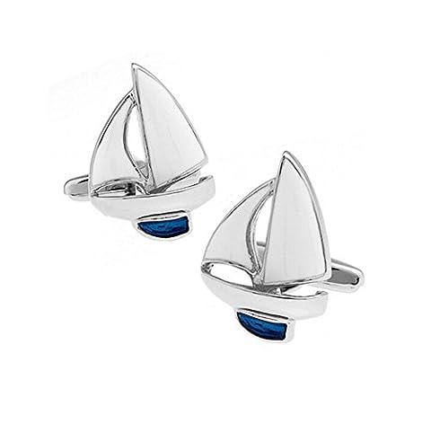 Hosaire 2x Boutons de manchette Men's simple bleu et blanc voilier boutons décoration bijoux ornements
