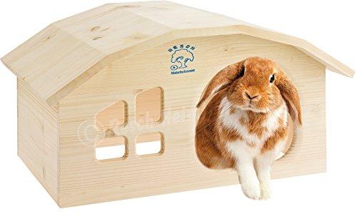 Resch Numéro 02 Maisonnette pour lapin / Bois massif d'épicéa, non traité / Dispose d'une fenêtre et d'une entrée extra large.