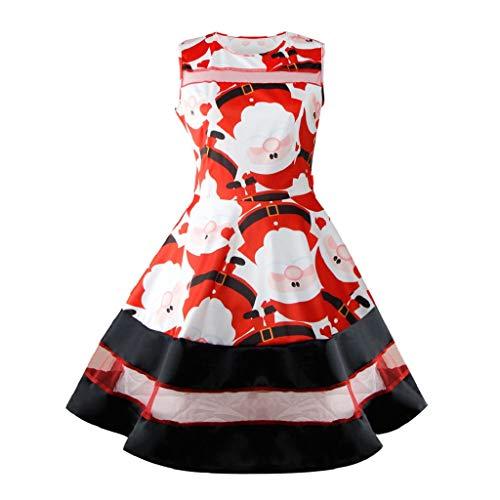 Soupliebe Weihnachtsmann Weihnachtsmann Weihnachtskleid Ärmellose Weihnachtsschwingen Retro Kleider -