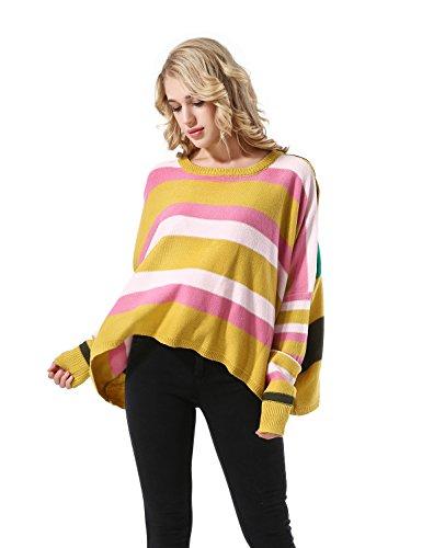 Yidarton Donna Maglia a Manica Lunga Asimmetrico Camicia Pullover Sciolto Tops Maglietta Giallo