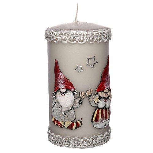 tradingbay24 Stumpenkerze Weihnachten Weihnachtswichtel Handarbeit Ø 7 cm, 14 cm Dekokerzen Kerzen Adventskerzen Weihnachtskerzen Stumpenkerzen hochwertig Handmade handgefertigt (grau)