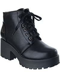 5311ea93420 Womens Ladies New Chunky Block MID HIGH Heel LACE UP Biker Combat Platform  Ankle Boots Shoes