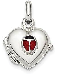 Sterling Plata Corazón con Esmaltado Mariquita 10mm camafeo