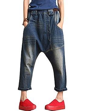 Youlee Mujer Cintura Elástica Mezclilla Pantalones Cintura Alta Capri Pantalones Azul