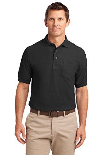 Port Authority Polo (Port Authority® Tall Silk TouchTM Polo with Pocket. TLK500P Black 3XLT)