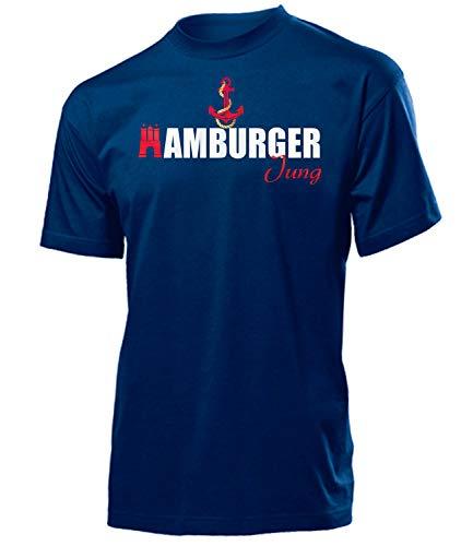 Hamburger Jung 6140 Fussball Fanshirt Fanartikel Hamburger Fan Geschenk Geburtstag Weihnachten Männer Herren T-Shirts Navy XL