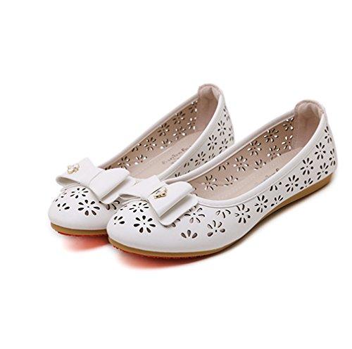 Damen Slipper Slip On Blumen Hohl Atmungsaktiv Leichtgewicht mit Schleife Süße Freizeit Komfort Schuhe Weiß