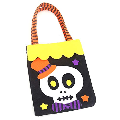 (chtdz New Halloween Candy Bag Kinder Muster Tasche Portable Handtasche Halloween Decor Kinder Trick Treat Tasche für Süßigkeiten (Bone))